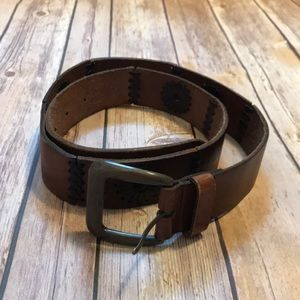 Accessories - Brown Leather Embroidered Belt